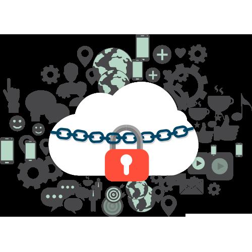 Nube con candado seguridad en cloud